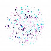 Flying Stars Confetti Holiday Vector In Cyan Blue Violet On White. Fireworks Sparkles Festival Symbo poster