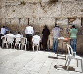 Jews at the wailing western wall in Jerusalem