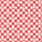Red gingham fabric cloth with flowers, seamless pattern included