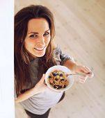 Cheerful Lady Starts The Morning Right By Eating Breakfast