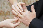 Bride Placing Ring On Finger Of Groom