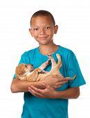 Boy Cuddles Puppy