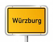 City limit sign Wuerzburg against white background - signage W�?�¼rzburg - Bavaria, Bayern, Germa