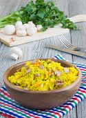 Vegetarian Pilaf With Saffron And Mushrooms