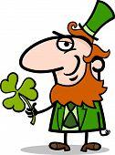 Leprechaun With Clover Cartoon Illustration