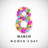 Happy Women's Day background with floral decorated text 8 March.