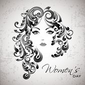 Sketch of a beautiful girl with floral decorated hairs for Happy Women's Day.