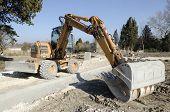backhoe on a construction site