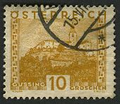 AUSTRIA - CIRCA 1929: A stamp printed in Austria shows image of the Burg G�?�?�?�¼ssing castle,