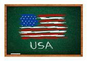 Usa Flag On Green Chalkboard
