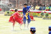 Lopburi, Thailand - Feb 16: Siamese Soldiers Fight One On One Show At The King Narai Reign Fair On F