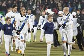 CLUJ-NAPOCA, ROMANIA - FEBRUARY 21: inter Milan players before UEFA Europa League match, CFR 1907 Cl