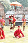 Lopburi, Thailand - Feb 16: Siamese Soldiers Traditional Show At The King Narai Reign Fair On Februa