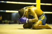 CHANG, THAILAND - FEB 22: Unidentified Muaythai fighter in ring during match, Feb 22, 2013 on Chang,
