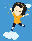 Happy girl on cloud nine