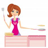 Chef Girl Fries Pancakes On Shrovetide It Is Isolated On A White Background