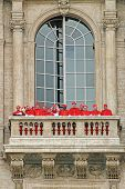 VATICAN - APRIL 19: Cardinals on balcony of Saint Peter's Basilica after new Pope election procedure