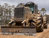 stock photo of logging truck  - A logging skidder used to pull fallen trees to the landing for loading onto a log truck - JPG