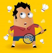badminton player. Vector illustration