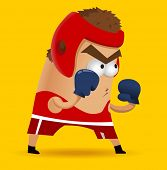 Amateur Boxing on training. Vector illustration