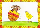 Easter card child's drawing watercolor painting