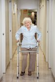 pic of zimmer frame  - Full length portrait of an elderly woman with walker standing in hospital corridor - JPG