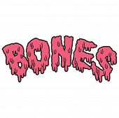 Vector drippy bones text in pink