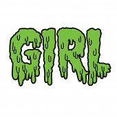 Vector drippy girl text in green