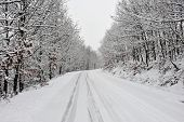 Road Covered By Snow And Two Mountain Bikes