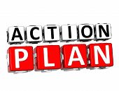 3D Action Plan Button Click Here Block Text