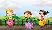 Illustration of kids playing at the bridge