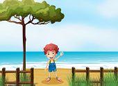 Illustration of a boy at the seashore