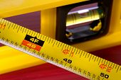 Construction Tape Measure And Bubble Level