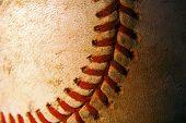Closeup Of An Old, Weathered Baseball