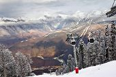 foto of olympiade  - ski lift in Sochi Krasnaya Polyana winter day - JPG