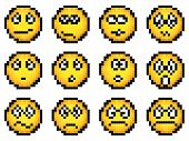Conjunto de vectores Simple Pixel amarillo Smiley.