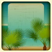 Retro background with seaside and palm trees.