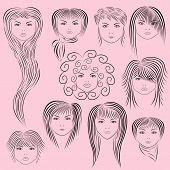 Female Hairstyles Vector Illustration