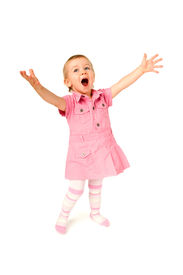 image of hands up  - Baby girl standing with open mounth and hands up amazed surprised happy - JPG