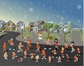 Colorful cute happy cartoon people on suburb neighborhood on christmas night