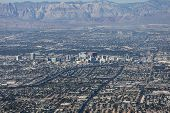 LAS VEGAS, NEVADA - Oct 15:  View of downtown Las Vegas.  Shot from Frenchman Mountain.  Vegas has 1