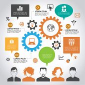 Template infographic. Concept of modern business and teamwork. Design colored background with avatars of people, speech bubbles, gears, text and business icons.