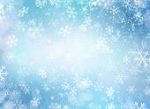 Winter Holiday Snow Background. Christmas Abstract Backdrop with Snowflakes. Blue Color