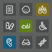 Medicine web icons set 2, flat buttons