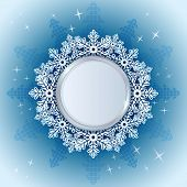 Christmas snowflake card with round copy space vector template.