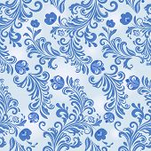 Seamless winter blue flower vector wallpaper pattern.