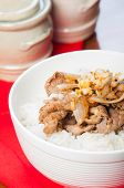 picture of shabu  - pan fried beef sukiyaki with onion on rice - JPG