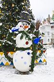 Snowman Near Christmas Tree