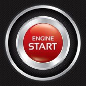 Start Engine button on Carbon fiber background.