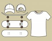 Blank skateboard, cap and t-shirt templates